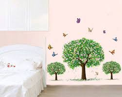 3 Trees With Butterflies Vinyl Decals Wall Art Tree Stickers