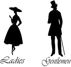 Amazon Com Daweif Gentlemen Ladies Toilet Wc Bathroom Door Sign Vinyl Wall Stickers Silhouettes Man And Woman Decal Wall Art For Bathroom Home Kitchen