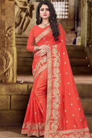 zoya art silk saree with orange