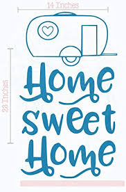 Camping Decals Home Sweet Home Camper Wall Art Vinyl Stickers Rv Decor 14x23 Inch Bayou Blue
