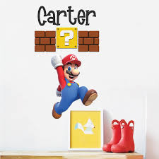Mario Personalized Name Decal Super Mario Wall Decal Sticker Video Game Bedroom Wall Art Primedecals