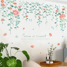 Romantic Hanging Flowers Leaf Vine Wall Stickers Living Room Home Decor Tv Set Wall Decal Pink Floral Pla In 2020 Wall Stickers Living Room Vine Wall Rooms Home Decor