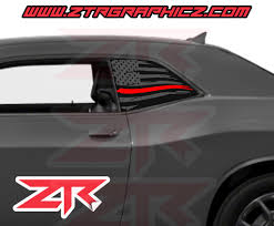 Dodge Challenger Distressed American Line Fire Department Support Flag Ztr Graphicz
