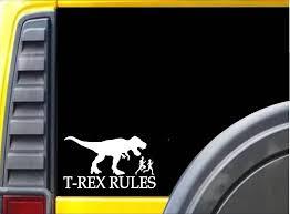 T Rex Rules J791 6 Sticker Decal Dinosaur Window Sticker Stickers Aliexpress