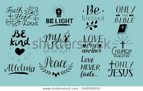 set hand lettering christian quotes stock vector royalty