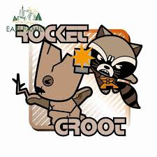Earlfamily 13cm X 11 3cm For Rocket And Groot Cartoon Car Stickers Vinyl Material Decal Body For Car Air Conditioner Diy Car Stickers Aliexpress