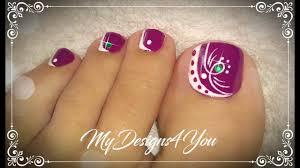 beautiful purple toenail art design