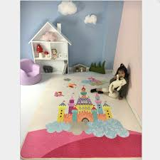 Pink Kids Rug With Castle Print Game Baby Crawling Mat Girls Best Loved Rug Tapete Carpet And Alfombra Children Room Rugs Mats Room Rug Kids Rugtapete Carpete Aliexpress