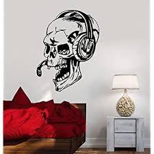 Amazon Com V Studios Vinyl Decal Gamer Skull Headphones Gaming Video Games Wall Stickers Vs450 Home Kitchen