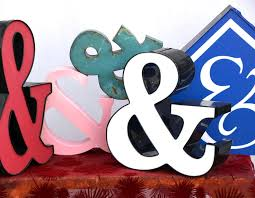Nos Usa Vintage Metal Letter And Ampersand Wall Art Marquee Sign Black