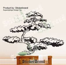 Vinyl Wall Art Decal Sticker Big Japanese Bonsai Tree 72x92 6ft Tall Stickerbrand On Artfire