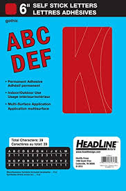 Red Duro Permanent Adhesive Vinyl Letters 6 Inch