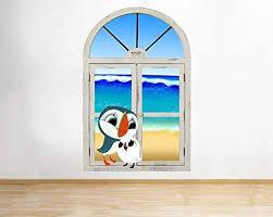 M142 Puffin Rock Birds Beach Baby Window Wall Decal 3d Art Stickers Vinyl Roommedium 25x40 Amazon Co Uk Baby