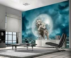 White Wolves Fantasy Wallpaper Woven Self Adhesive Wall Mural Art Decal M197 Ebay