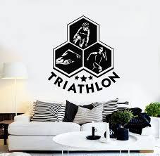 Vinyl Wall Decal Triathlon Swimming Cycling Running Sports Art Sticker Wallstickers4you