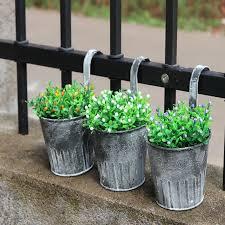 Vintage Retro Metal Iron Fence Hanging Keg Flower Pot With Hook Garden Hanging Balcony Plant Hang Pot Nursery Bonsai Pots Flower Pots Planters Aliexpress