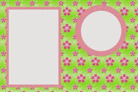 Flores Rosa En Fondo Verde Tarjetas O Invitaciones Para Imprimir
