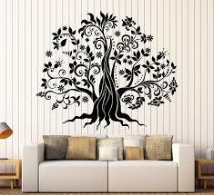 Amazon Com Designtorefine Vinyl Wall Decal Family Tree Flowers Nature Stickers Large Decor 1337ig Purple Home Kitchen
