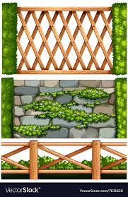 Fence Design With Wooden And Stone Royalty Free Vector Image