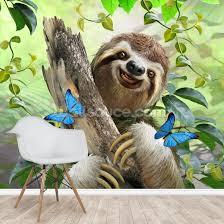 sloth selfie wall mural wallsauce uk