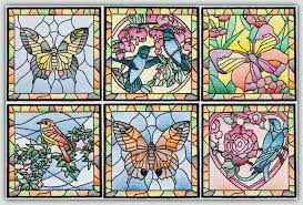 c1494 stained glass squares birds