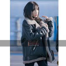 b3 white fur real black leather jacket