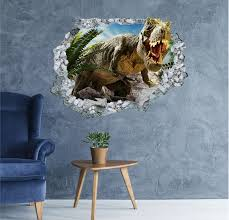 Dinosaur Wall Hole Decal 3d Stickers Vinyl Home Decor Mural Etsy