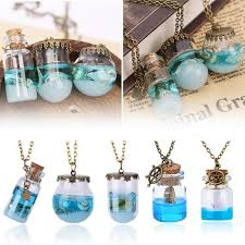 retro blue sea ocean mini glass bottle