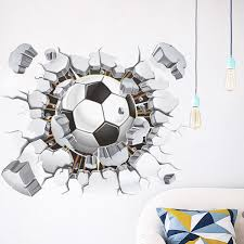 Broken Soccer Ball Football 3d Decorative Peel Vinyl Wall Kids Room Nursery New 669818778442 Ebay