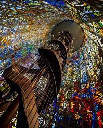 stained glass spiral staircase japan