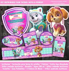 Kit Paw Patrol Ninas Skye Everest Invitacion Candy Fiesta