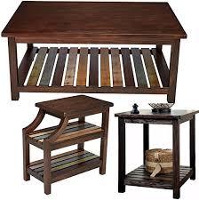 com wooden end table set 3