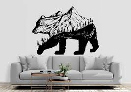 Bear Mountains Nature Wall Decal Bear Mountain Wall Sticker Pine Trees Mountains Wall Decal Mnt16 In 2020 Mountain Wall Decal Bear Wall Decal Wall Stickers Mountains