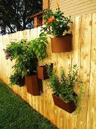 Herb Garden Inspiration Ideas Over 50 Pots Planters And Containers Bystephanielynn Fence Planters Backyard Fences Fence Plants
