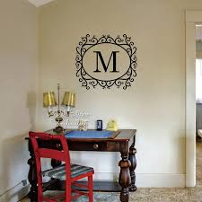 Custom Name Wall Sticker Initial Letter Name Wall Decal Floral Frame Name Family Name Stickers Cut Vinyl C38 Vinyl Name Name Wall Decalswall Decals Aliexpress
