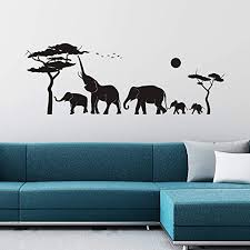 Amazon Com Vodoe Wall Decals For Kids Elephant Wall Decal Living Room Nursery Playroom Children Girls Baby African Tropical Forest Wild Animal Jungle Safari Stickers Family Life Vinyl Art Home Decor 39 3 X14 Home