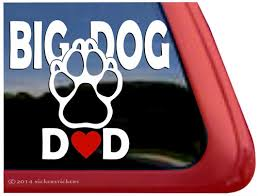 Big Dog Dad Paw Print Window Decal Nickerstickers
