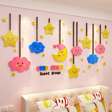 Diy Cartoon Starry Acrylic Wall Stickers For Kids Rooms Bedroom 3d Wall Decor Bedside Children S Room Decorations Moon Star Wall Stickers Aliexpress