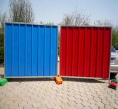 Haotian Blue Color Bond Corrugated Sheet Free Standing Temporary Steel Hoarding Panel Fencing Buy Construction Hoarding Fence Galvanized Steel Fence Panels Colorbond Solid Temporary Metal Hoarding Fence Product On Alibaba Com