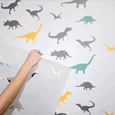 Amazon Com Stencilit Dinosaurs Large Wall Stencil For Painting Xl Size 24 X39 5 Reusable Animal Kids Room Stencils Handmade
