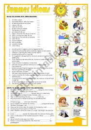 summer idioms esl worksheet by leva