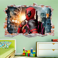 Deadpool 3d Smashed Wall Decal Broken Wall Sticker Wall Art Dalvars On Artfire