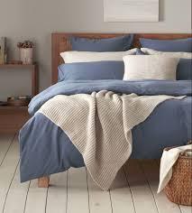 relaxed denim slate blue bed linen