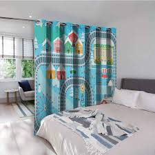 Amazon Com Kids Activity Kitchen Gromets Curtain And Valances Set Drapes For Boys Room Lovely City In The Winter Train Track Activity In Cartoon Drawing Style Light Darkening Curtains Multicolor W72 X