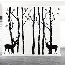 Amazon Com Fymural Forest And Deers Tree Wall Stickers Art Mural Wallpaper For Bedroom Kid Baby Nursery Vinyl Removable Diy Decals 82 7x70 9 Black Arts Crafts Sewing