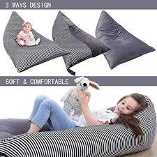 Stripe 2 Beanbag Cover Stuffed Animal Lounge Seat For Organizing Kids Room Premium Air Layer Material