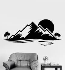 Nature Landscape Wall Decal Vinyl Living Room Decor Island Palm Tree Mountain Sunset Wall Sticker Sofa Background Art Wall La896 Wall Sticker Wall Decalswall Decal Vinyl Aliexpress