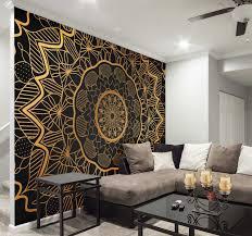 Golden Mandala Mural Wallpaper Tenstickers