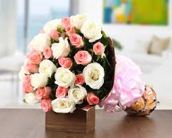 pink and white rose bouquet flower