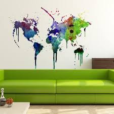 World Map Watercolor Decal Watercolor World Map Wall Etsy